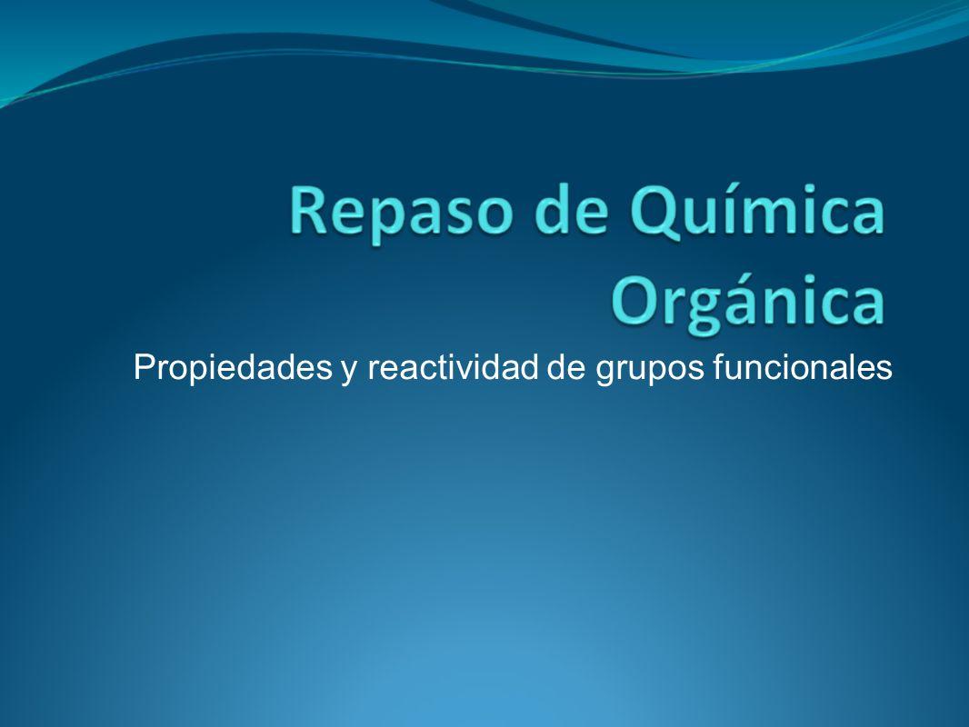 Recuerde… La reacciones químicas en los compuestos orgánicos tienen origen en los grupos funcionales Recuerde que los grupos funcionales concentran carga, es por esto que la reactividad nace de ellos.