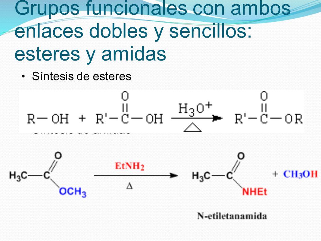 Grupos funcionales con ambos enlaces dobles y sencillos: esteres y amidas Síntesis de esteres Síntesis de amidas
