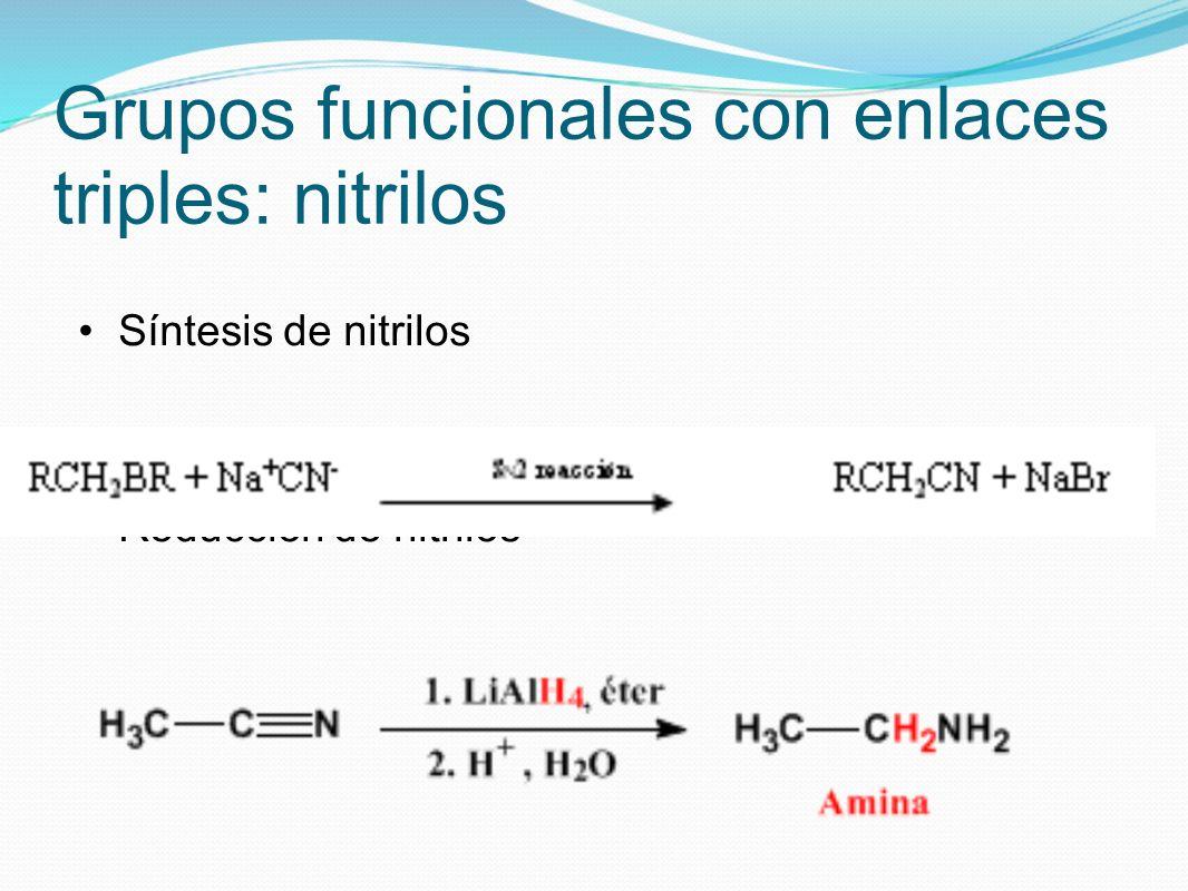 Grupos funcionales con enlaces triples: nitrilos Síntesis de nitrilos Reducción de nitrilos