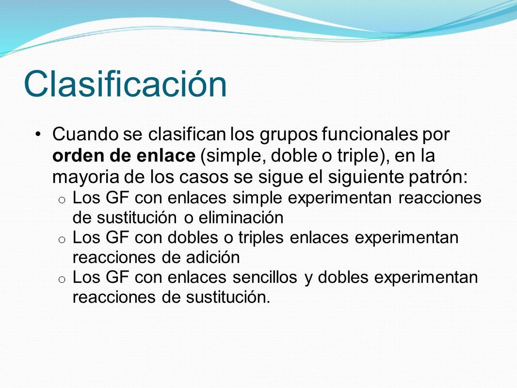Clasificación Cuando se clasifican los grupos funcionales por orden de enlace (simple, doble o triple), en la mayoria de los casos se sigue el siguien