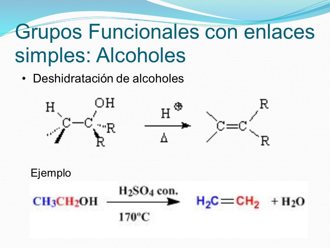 Grupos Funcionales con enlaces simples: Alcoholes Deshidratación de alcoholes Ejemplo