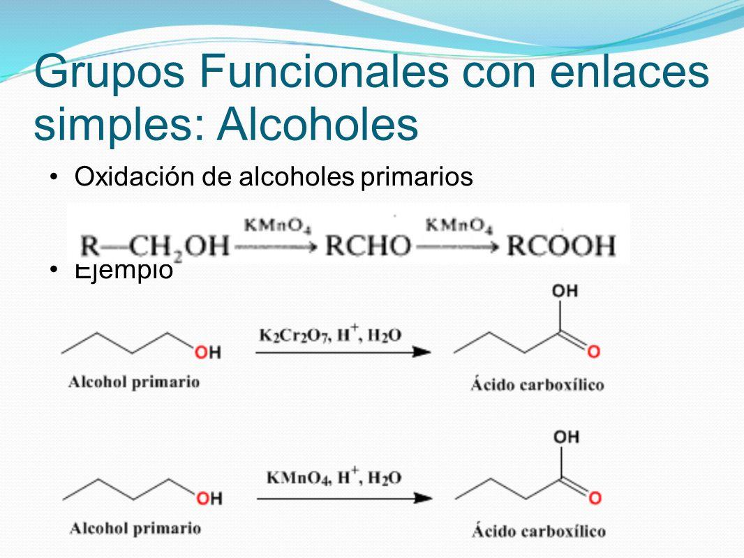 Grupos Funcionales con enlaces simples: Alcoholes Oxidación de alcoholes primarios Ejemplo