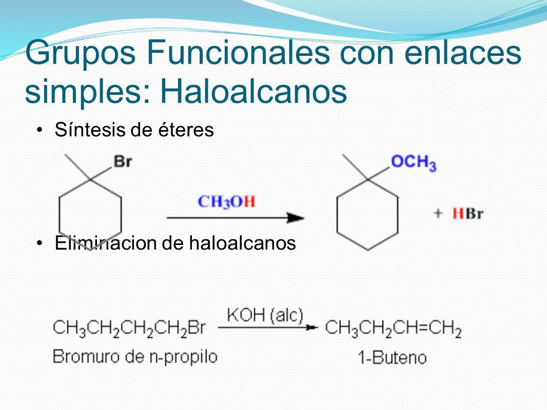 Grupos Funcionales con enlaces simples: Haloalcanos Síntesis de éteres Eliminacion de haloalcanos