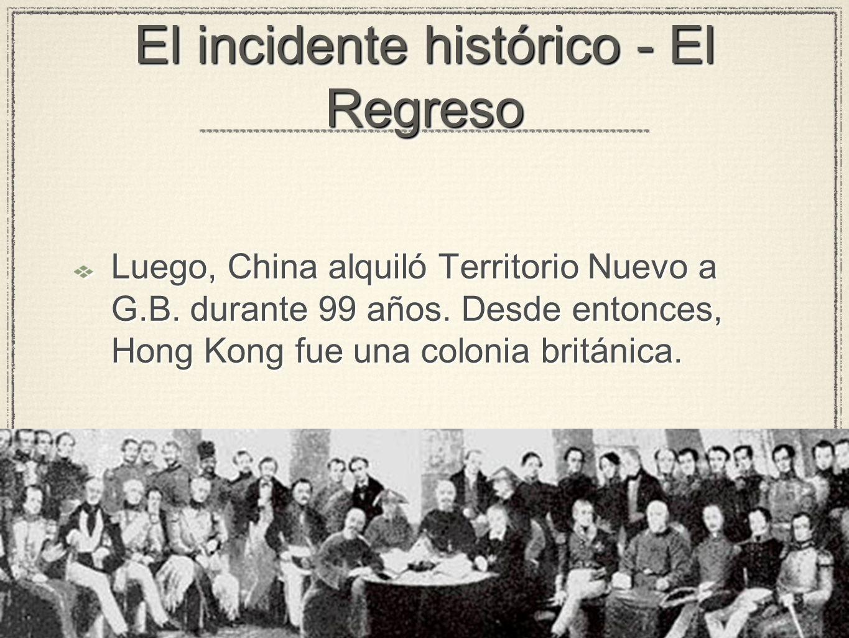El incidente histórico - El Regreso Luego, China alquiló Territorio Nuevo a G.B.