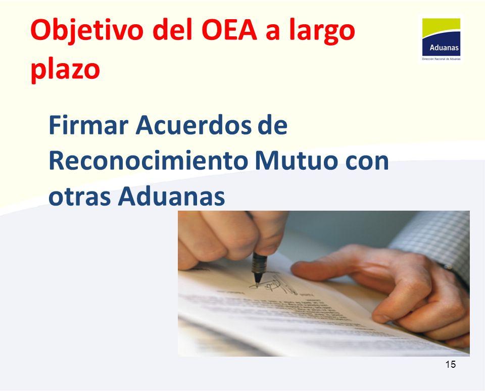 15 Firmar Acuerdos de Reconocimiento Mutuo con otras Aduanas Objetivo del OEA a largo plazo