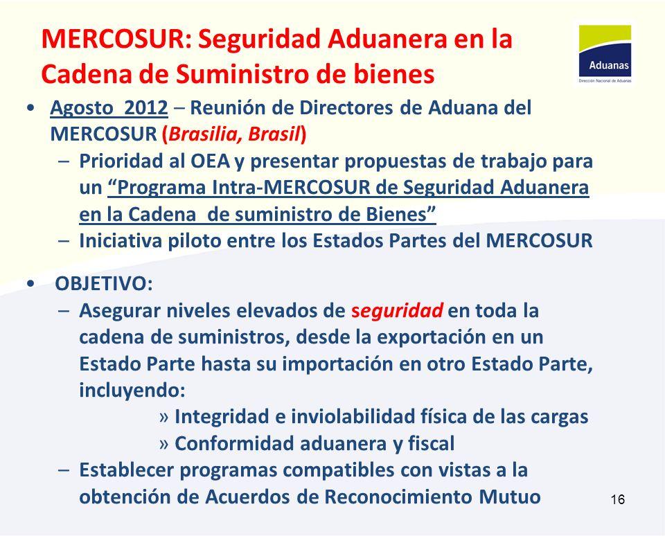 16 MERCOSUR: Seguridad Aduanera en la Cadena de Suministro de bienes Agosto 2012 – Reunión de Directores de Aduana del MERCOSUR (Brasilia, Brasil) –Pr