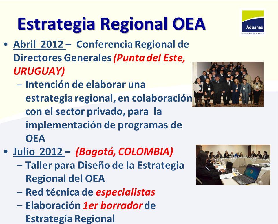 Estrategia Regional OEA Octubre 2012 – (Lima, PERÚ) –Lanzamiento Programa OEA Perú –VII Taller Regional sobre el programa OEA –Revisión de la Estrategia Regional Abril 2013 - Reunión de Directores Generales (PANAMÁ)