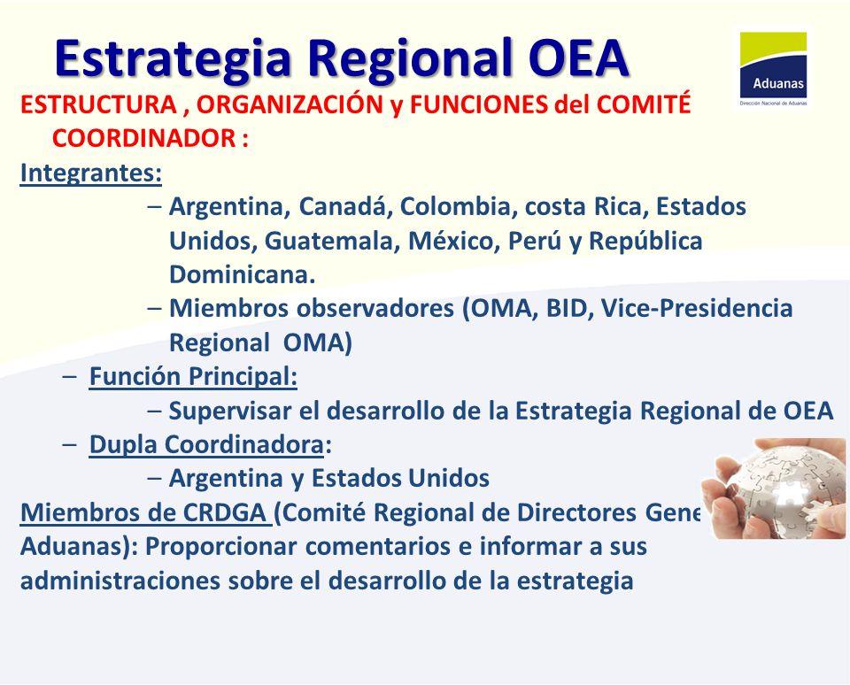 Estrategia Regional OEA ESTRUCTURA, ORGANIZACIÓN y FUNCIONES del COMITÉ COORDINADOR : Integrantes: –Argentina, Canadá, Colombia, costa Rica, Estados U