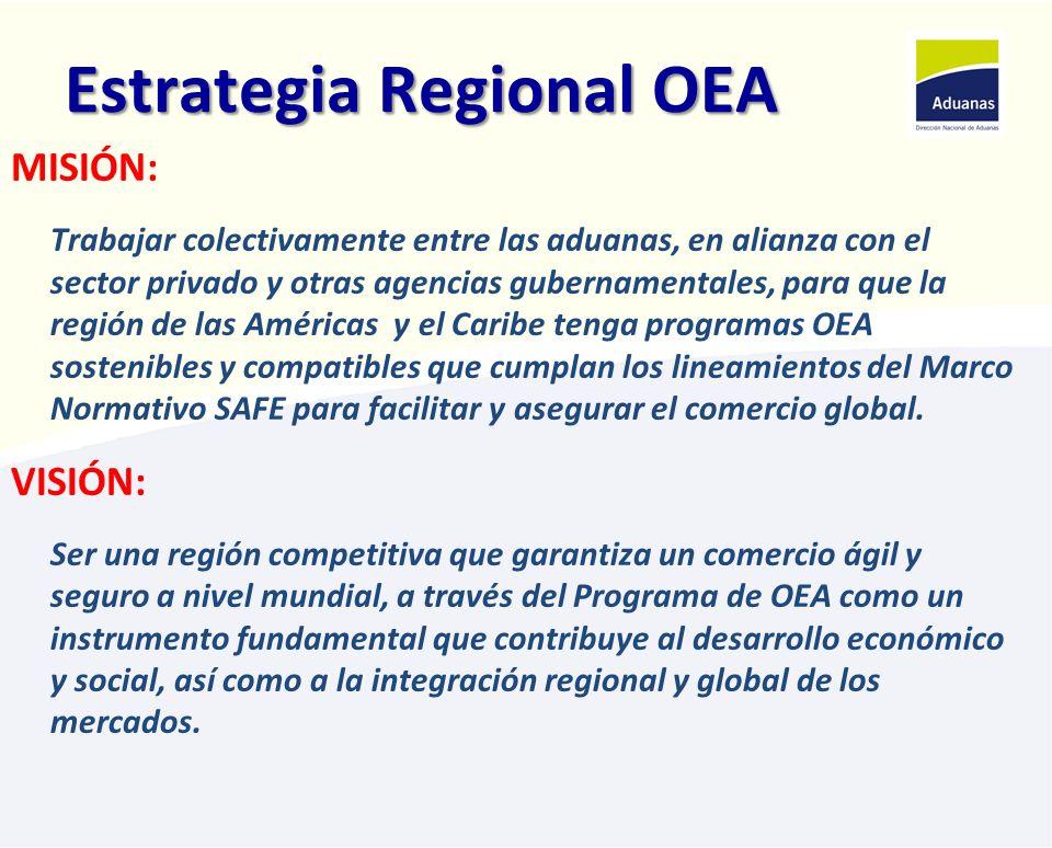 Estrategia Regional OEA OBJETIVOS ESTRATÉGICOS: Incentivar la implementación de programas OEA en la Región Fortalecer los programas OEA en la región Incrementar el número de operadores certificados OEA en la Región Establecer y/o fortalecer las alianzas con el Sector Privado y otras agencias gubernamentales u organismos internacionales en el desarrollo de programas de OEA Incentivar y promover los procesos de negociación de Acuerdos de reconocimiento Mutuo - ARMs