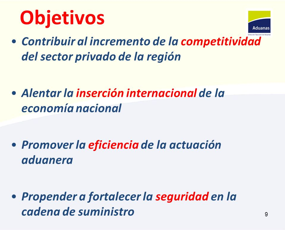 9 Objetivos Contribuir al incremento de la competitividad del sector privado de la región Alentar la inserción internacional de la economía nacional P
