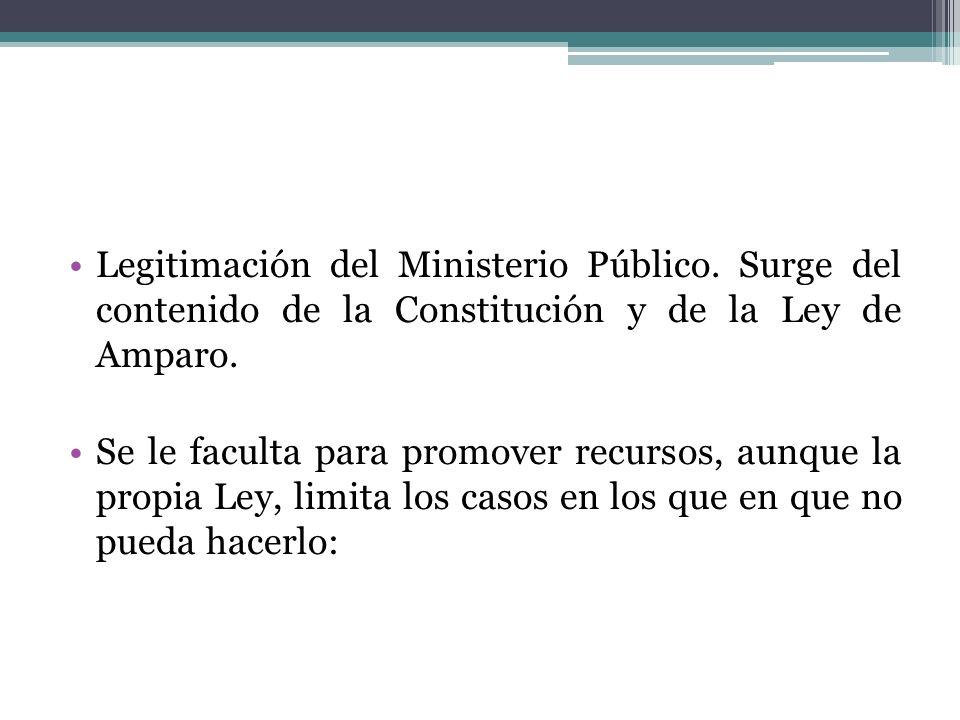 Legitimación del Ministerio Público. Surge del contenido de la Constitución y de la Ley de Amparo. Se le faculta para promover recursos, aunque la pro