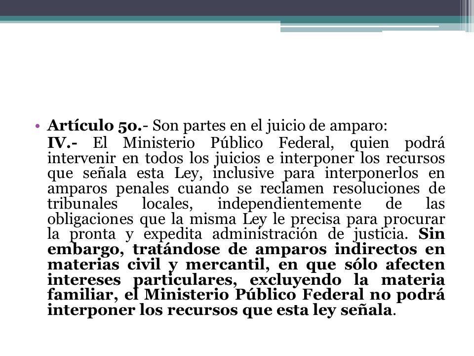 Artículo 5o.- Son partes en el juicio de amparo: IV.- El Ministerio Público Federal, quien podrá intervenir en todos los juicios e interponer los recu