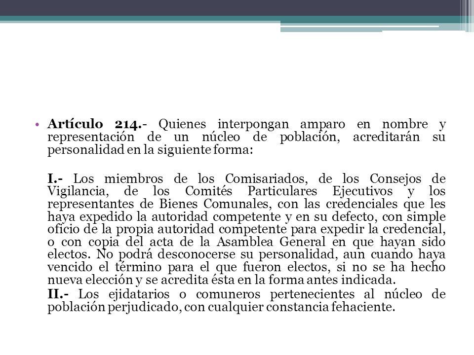 Artículo 214.- Quienes interpongan amparo en nombre y representación de un núcleo de población, acreditarán su personalidad en la siguiente forma: I.-