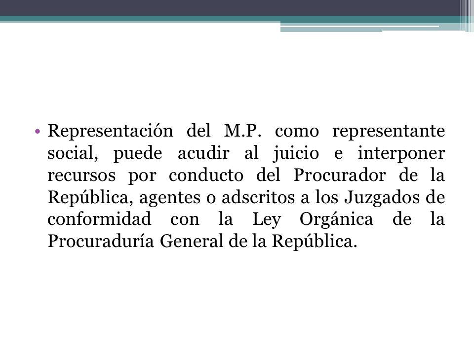 Representación del M.P. como representante social, puede acudir al juicio e interponer recursos por conducto del Procurador de la República, agentes o