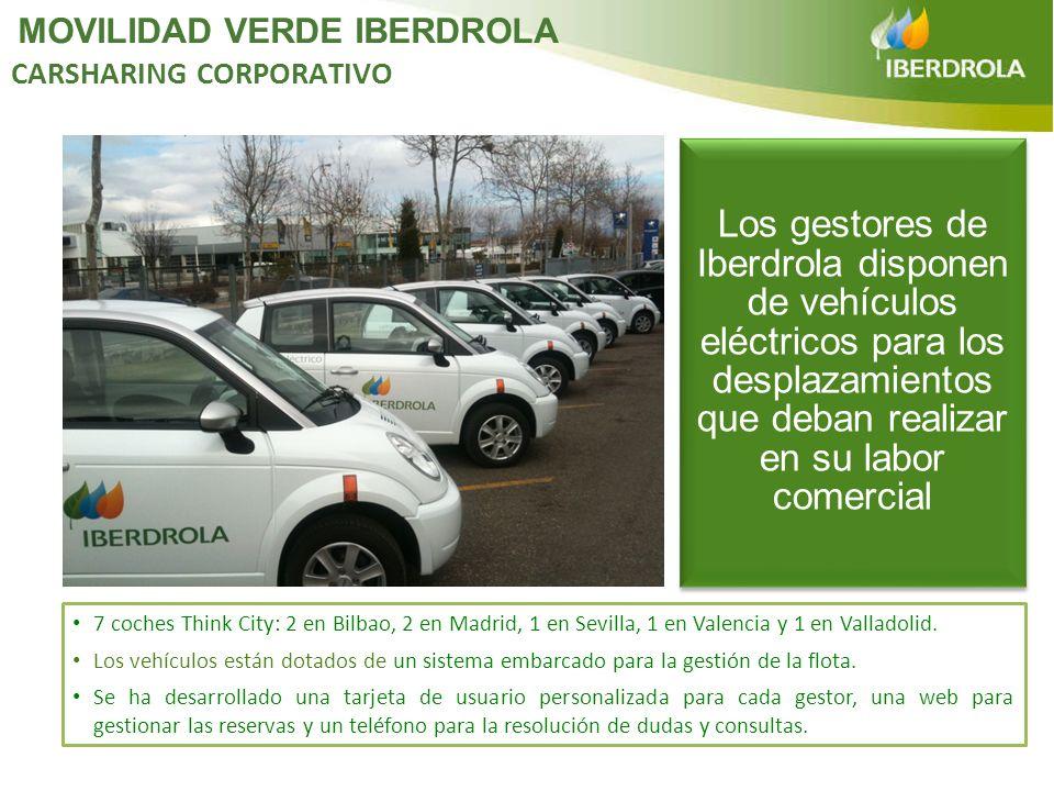 7 coches Think City: 2 en Bilbao, 2 en Madrid, 1 en Sevilla, 1 en Valencia y 1 en Valladolid. Los vehículos están dotados de un sistema embarcado para