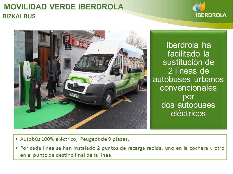 Autobús 100% eléctrico, Peugeot de 9 plazas. Por cada línea se han instalado 2 puntos de recarga rápida, uno en la cochera y otro en el punto de desti