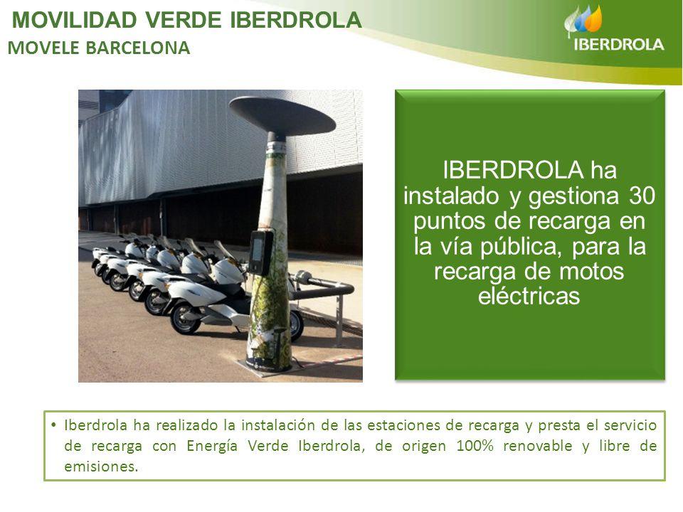 Iberdrola ha realizado la instalación de las estaciones de recarga y presta el servicio de recarga con Energía Verde Iberdrola, de origen 100% renovab