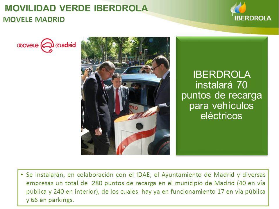 Se instalarán, en colaboración con el IDAE, el Ayuntamiento de Madrid y diversas empresas un total de 280 puntos de recarga en el municipio de Madrid