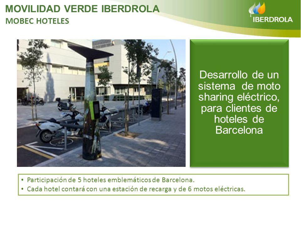 Participación de 5 hoteles emblemáticos de Barcelona. Cada hotel contará con una estación de recarga y de 6 motos eléctricas. Desarrollo de un sistema