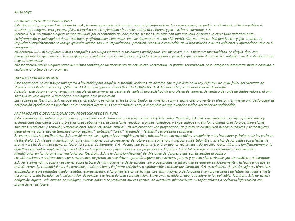 Aviso Legal EXONERACIÓN DE RESPONSABILIDAD Este documento, propiedad de Iberdrola, S.A., ha sido preparado únicamente para un fin informativo. En cons