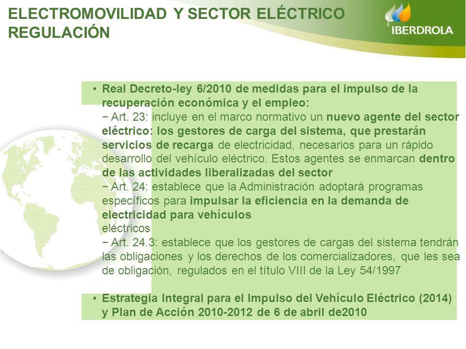 REGULACIÓN Real Decreto-ley 6/2010 de medidas para el impulso de la recuperación económica y el empleo: Art. 23: incluye en el marco normativo un nuev