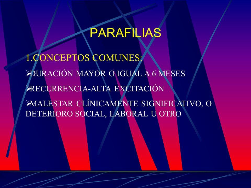 PARAFILIAS 1.CONCEPTOS COMUNES: DURACIÓN MAYOR O IGUAL A 6 MESES RECURRENCIA-ALTA EXCITACIÓN MALESTAR CLÍNICAMENTE SIGNIFICATIVO, O DETERIORO SOCIAL,