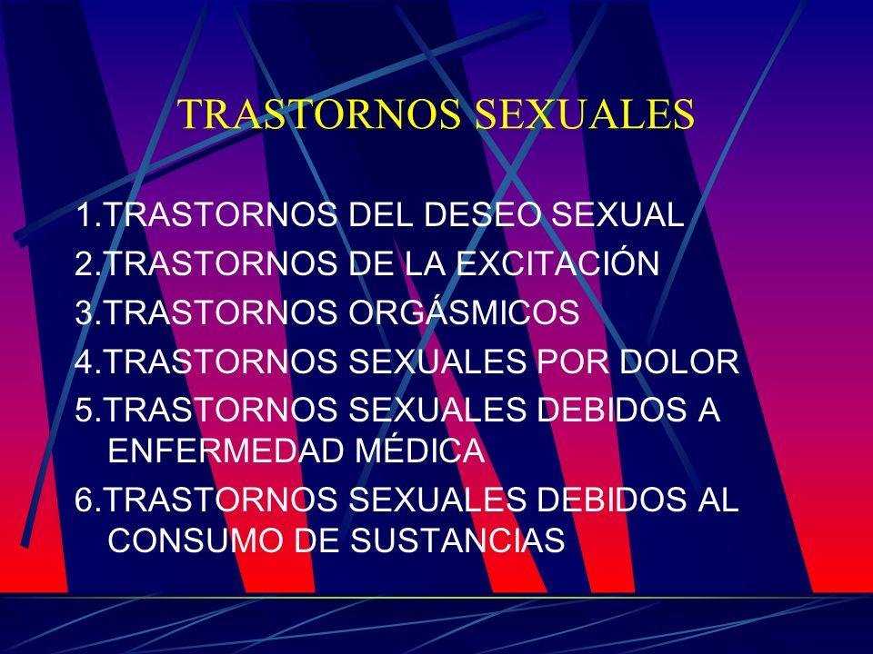 TRASTORNOS SEXUALES 1.TRASTORNOS DEL DESEO SEXUAL 2.TRASTORNOS DE LA EXCITACIÓN 3.TRASTORNOS ORGÁSMICOS 4.TRASTORNOS SEXUALES POR DOLOR 5.TRASTORNOS S