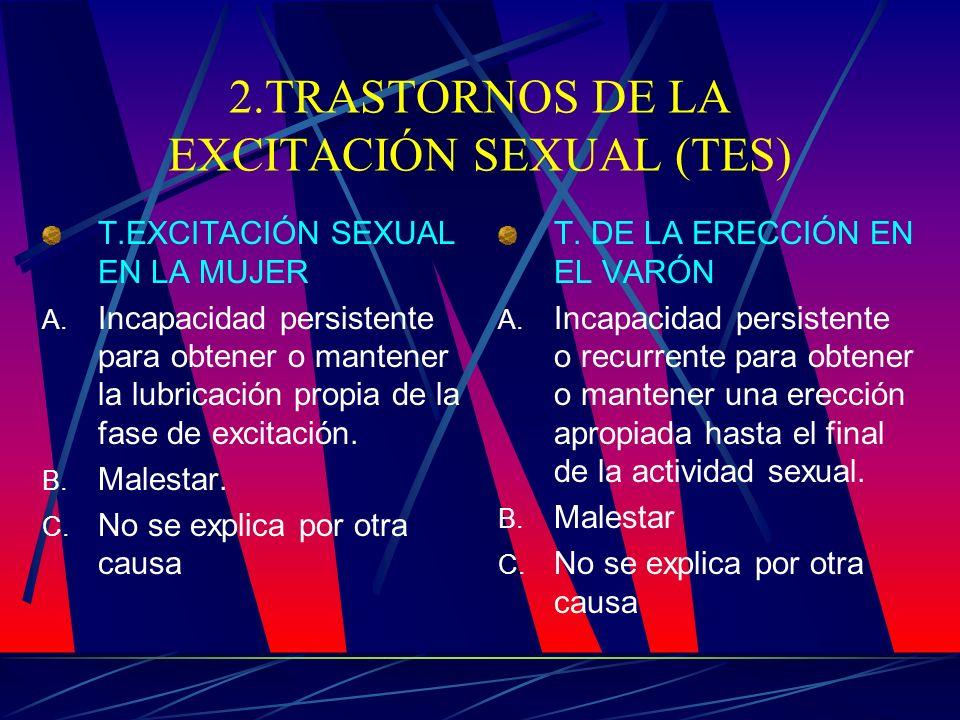 2.TRASTORNOS DE LA EXCITACIÓN SEXUAL (TES) T.EXCITACIÓN SEXUAL EN LA MUJER A. Incapacidad persistente para obtener o mantener la lubricación propia de