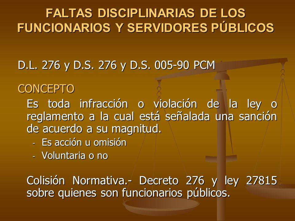 FALTAS DISCIPLINARIAS DE LOS FUNCIONARIOS Y SERVIDORES PÚBLICOS D.L. 276 y D.S. 276 y D.S. 005-90 PCM CONCEPTO Es toda infracción o violación de la le