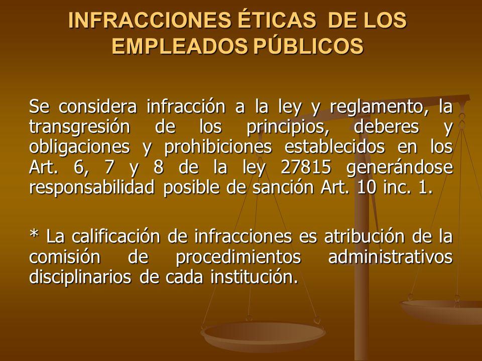 INFRACCIONES ÉTICAS DE LOS EMPLEADOS PÚBLICOS Se considera infracción a la ley y reglamento, la transgresión de los principios, deberes y obligaciones