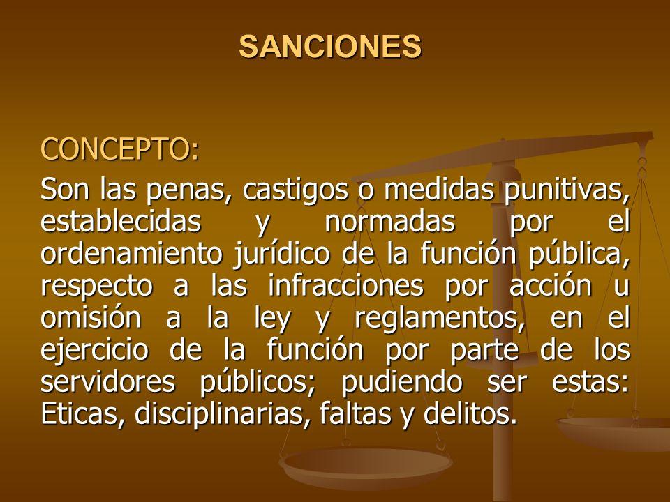 SANCIONES CONCEPTO: Son las penas, castigos o medidas punitivas, establecidas y normadas por el ordenamiento jurídico de la función pública, respecto