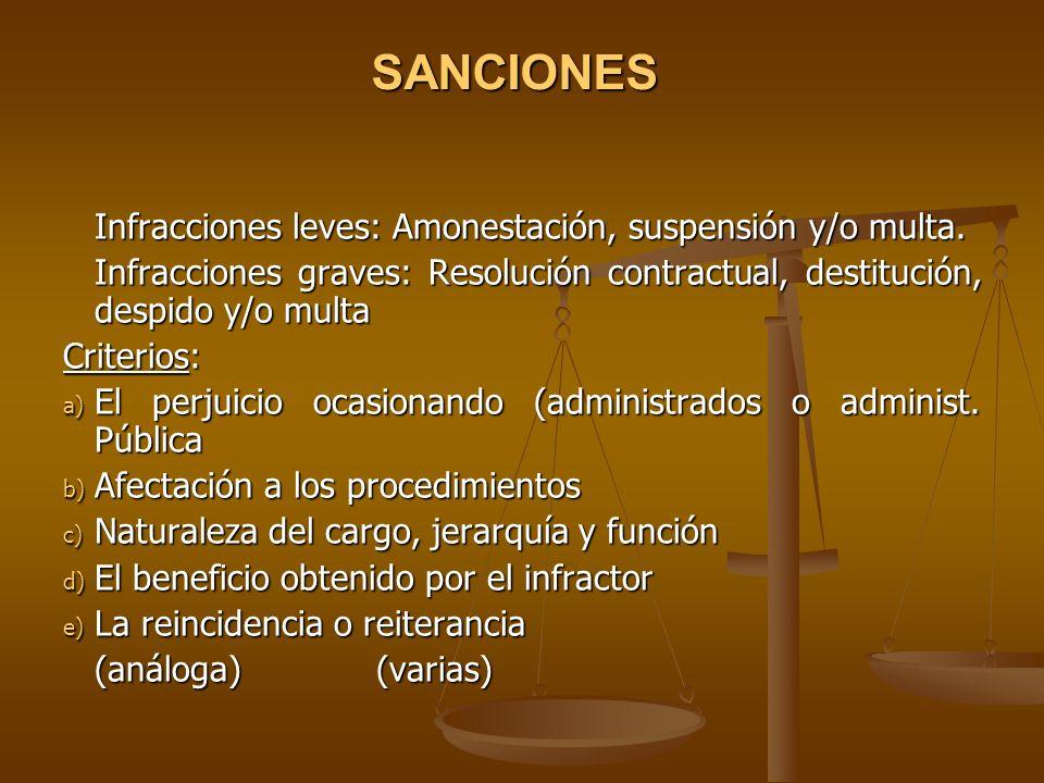 SANCIONES Infracciones leves: Amonestación, suspensión y/o multa. Infracciones graves: Resolución contractual, destitución, despido y/o multa Criterio