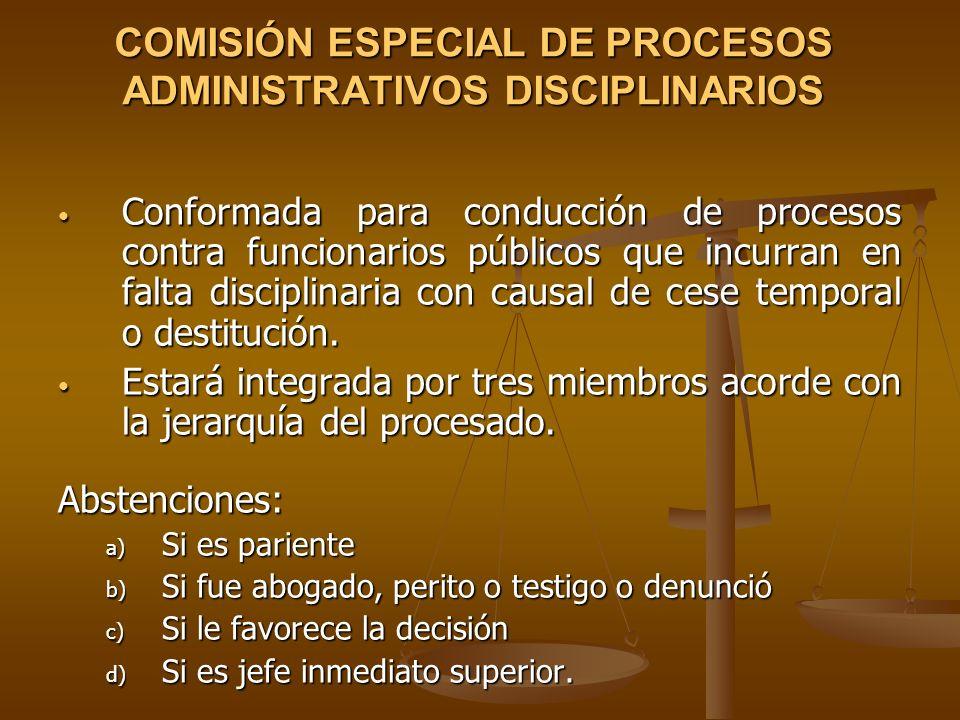 COMISIÓN ESPECIAL DE PROCESOS ADMINISTRATIVOS DISCIPLINARIOS Conformada para conducción de procesos contra funcionarios públicos que incurran en falta