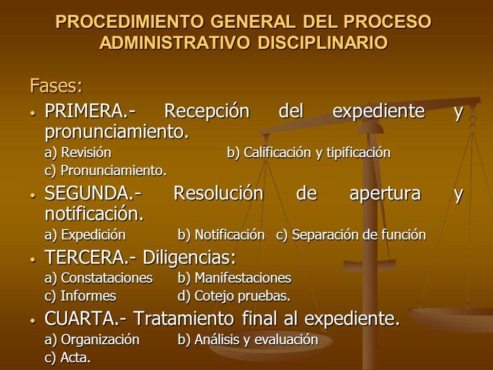 PROCEDIMIENTO GENERAL DEL PROCESO ADMINISTRATIVO DISCIPLINARIO Fases: PRIMERA.- Recepción del expediente y pronunciamiento. PRIMERA.- Recepción del ex