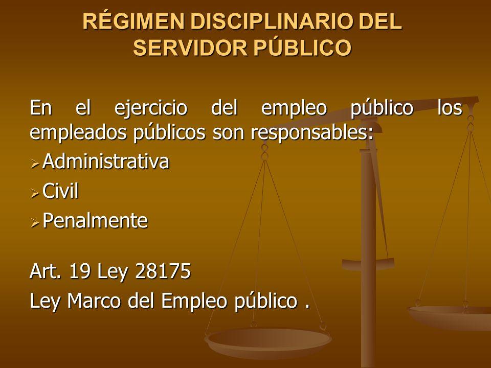 RÉGIMEN DISCIPLINARIO DEL SERVIDOR PÚBLICO En el ejercicio del empleo público los empleados públicos son responsables: Administrativa Administrativa C