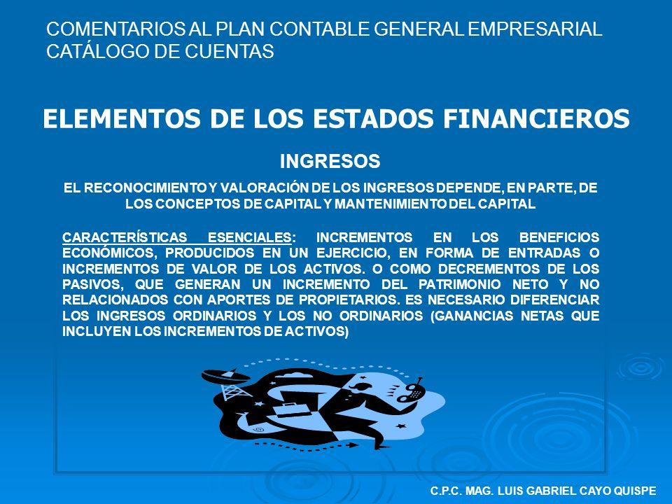 C.P.C. MAG. LUIS GABRIEL CAYO QUISPE ELEMENTOS DE LOS ESTADOS FINANCIEROS INGRESOS EL RECONOCIMIENTO Y VALORACIÓN DE LOS INGRESOS DEPENDE, EN PARTE, D