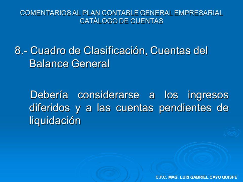 8.- Cuadro de Clasificación, Cuentas del Balance General Debería considerarse a los ingresos diferidos y a las cuentas pendientes de liquidación Deber