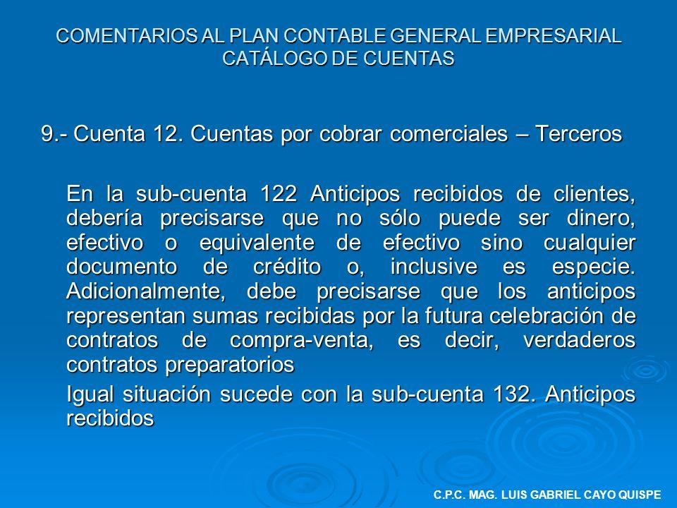 COMENTARIOS AL PLAN CONTABLE GENERAL EMPRESARIAL CATÁLOGO DE CUENTAS 9.- Cuenta 12. Cuentas por cobrar comerciales – Terceros En la sub-cuenta 122 Ant