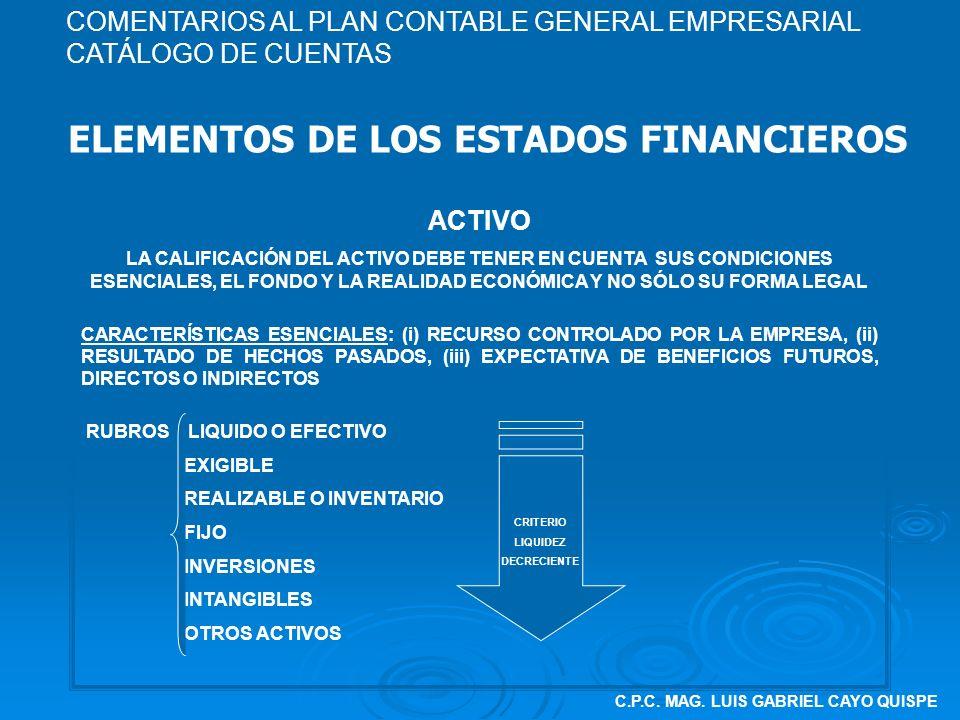 C.P.C. MAG. LUIS GABRIEL CAYO QUISPE ELEMENTOS DE LOS ESTADOS FINANCIEROS ACTIVO LA CALIFICACIÓN DEL ACTIVO DEBE TENER EN CUENTA SUS CONDICIONES ESENC