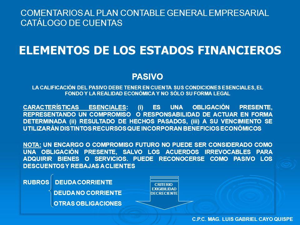 C.P.C. MAG. LUIS GABRIEL CAYO QUISPE ELEMENTOS DE LOS ESTADOS FINANCIEROS PASIVO LA CALIFICACIÓN DEL PASIVO DEBE TENER EN CUENTA SUS CONDICIONES ESENC