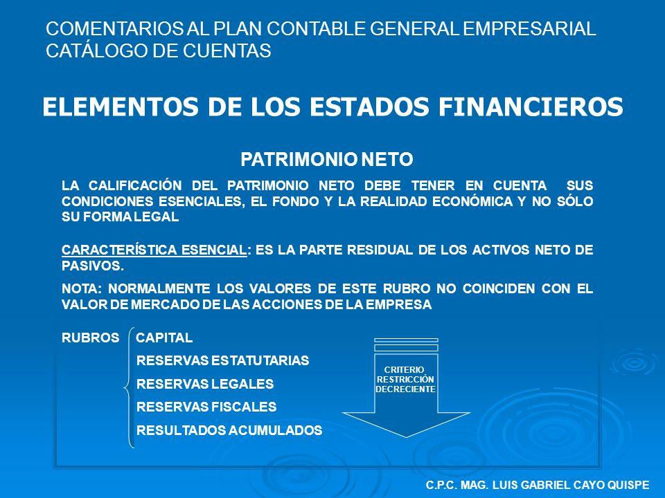 C.P.C. MAG. LUIS GABRIEL CAYO QUISPE ELEMENTOS DE LOS ESTADOS FINANCIEROS PATRIMONIO NETO LA CALIFICACIÓN DEL PATRIMONIO NETO DEBE TENER EN CUENTA SUS