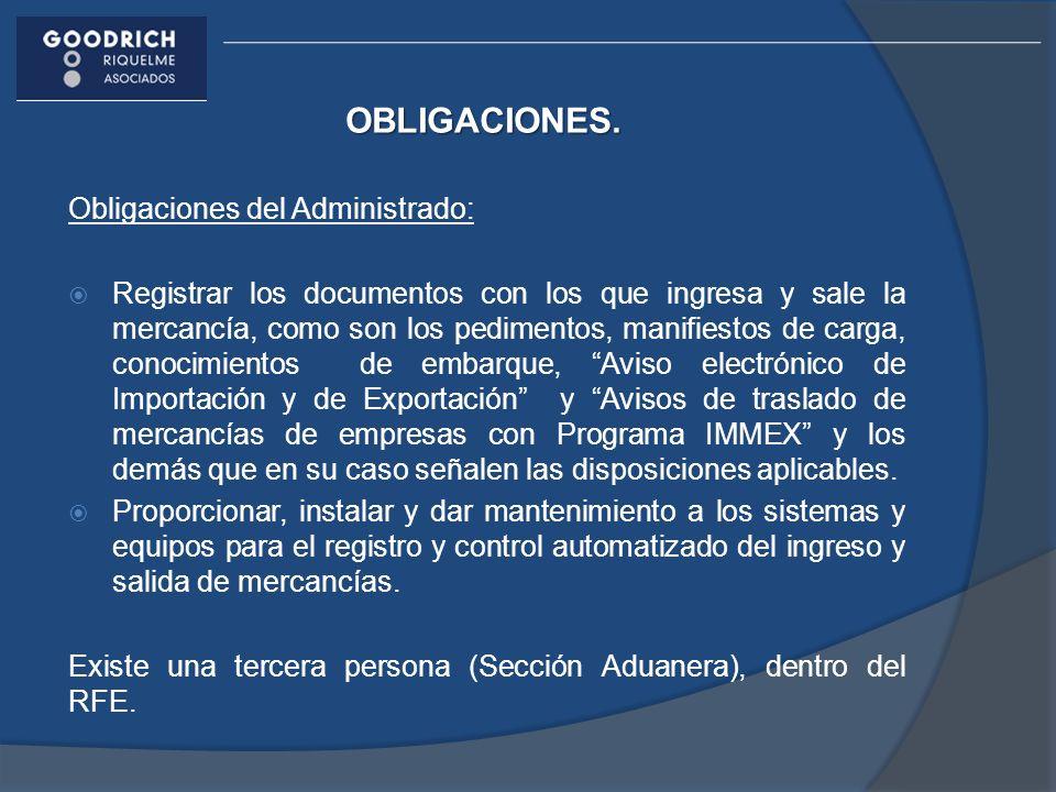 OBLIGACIONES. Obligaciones del Administrado: Registrar los documentos con los que ingresa y sale la mercancía, como son los pedimentos, manifiestos de