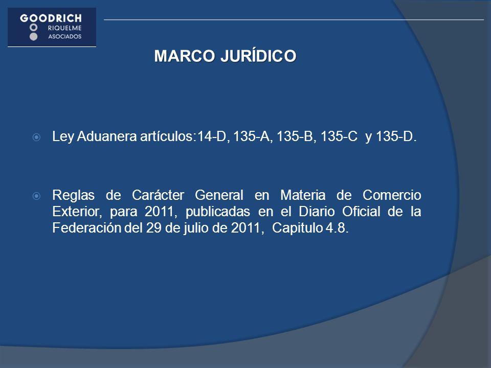 MARCO JURÍDICO Ley Aduanera artículos:14-D, 135-A, 135-B, 135-C y 135-D. Reglas de Carácter General en Materia de Comercio Exterior, para 2011, public