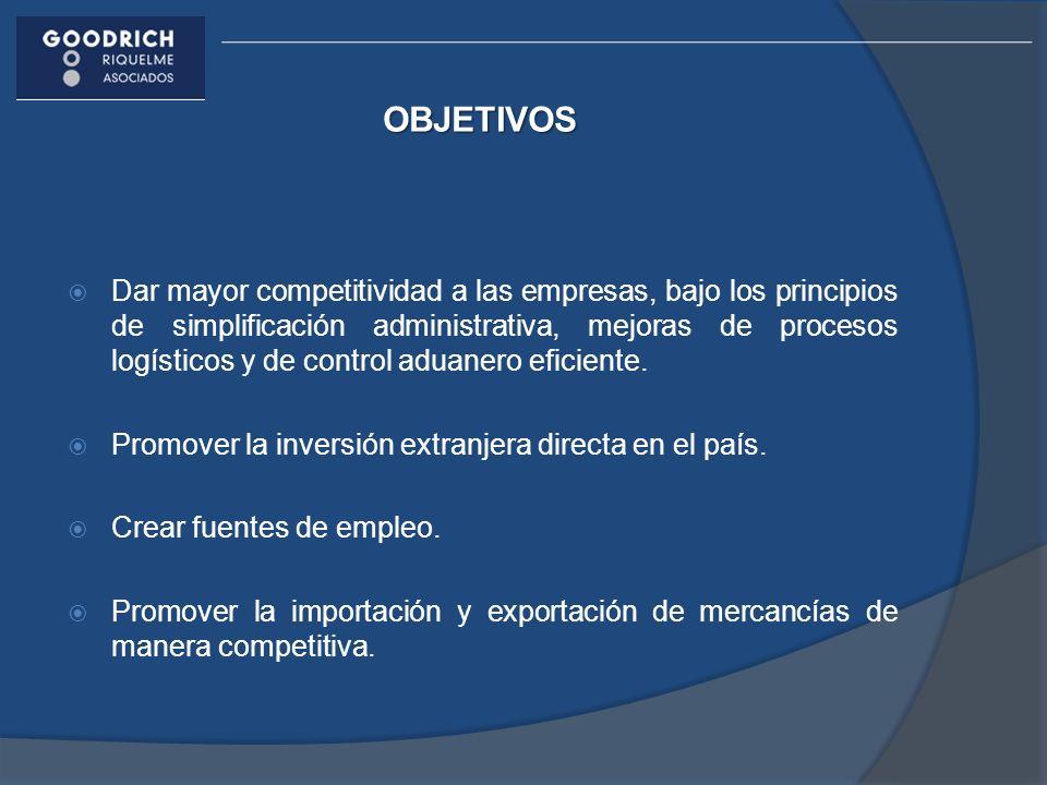 OBJETIVOS Dar mayor competitividad a las empresas, bajo los principios de simplificación administrativa, mejoras de procesos logísticos y de control a
