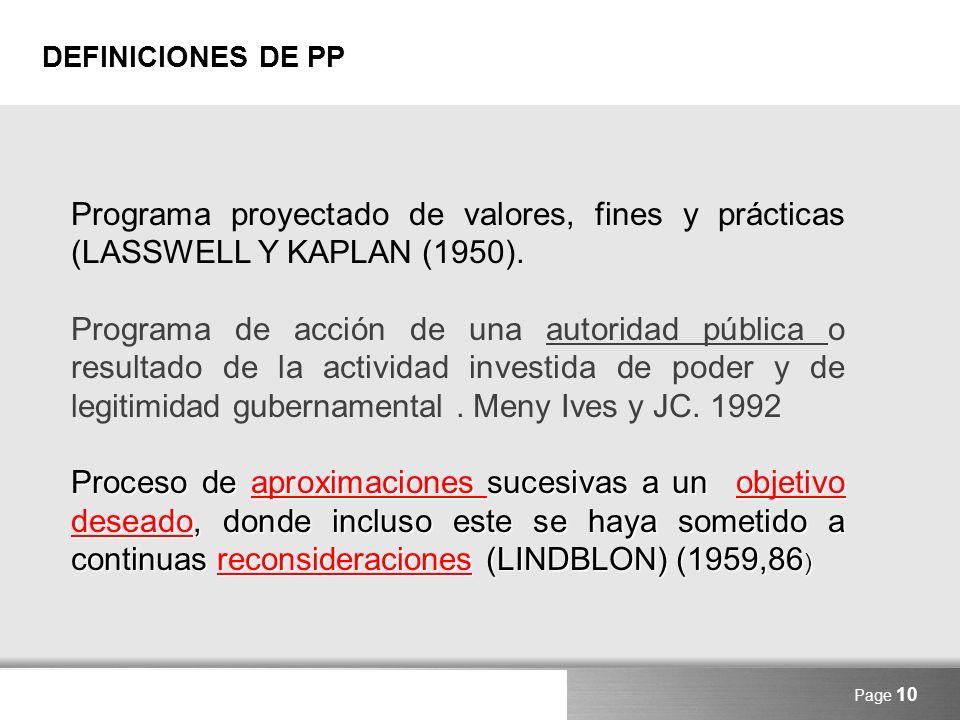 Here comes your footer DEFINICIONES DE PP Page 10 Programa proyectado de valores, fines y prácticas (LASSWELL Y KAPLAN (1950). Programa de acción de u