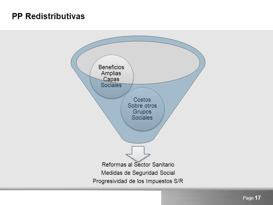 Here comes your footer PP Redistributivas Page 17 Reformas al Sector Sanitario Medidas de Seguridad Social Progresividad de los Impuestos S/R Costos S