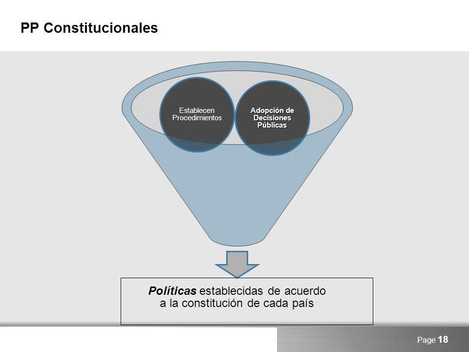 Here comes your footer PP Constitucionales Page 18 Políticas establecidas de acuerdo a la constitución de cada país Adopción de Decisiones Públicas Es