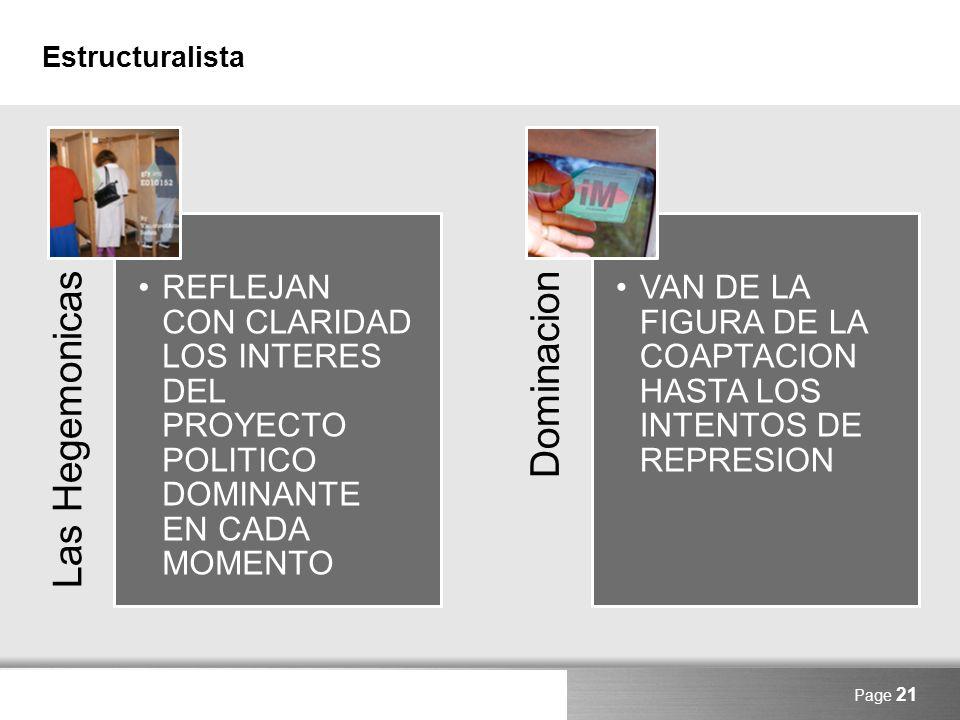 Here comes your footer Estructuralista Las Hegemonicas REFLEJAN CON CLARIDAD LOS INTERES DEL PROYECTO POLITICO DOMINANTE EN CADA MOMENTO Dominacion VA