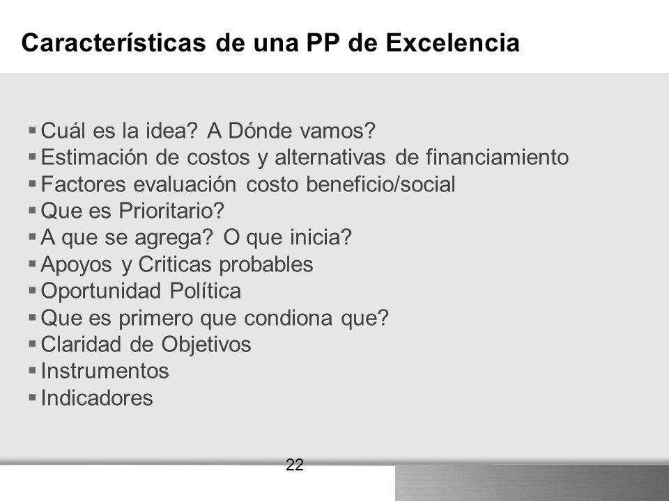 Here comes your footer 22 Características de una PP de Excelencia Cuál es la idea? A Dónde vamos? Estimación de costos y alternativas de financiamient