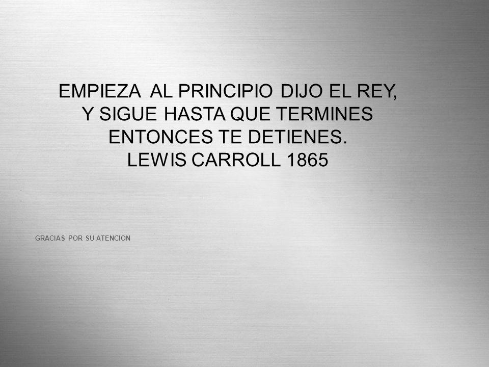 Here comes your footer Page 24 GRACIAS POR SU ATENCION EMPIEZA AL PRINCIPIO DIJO EL REY, Y SIGUE HASTA QUE TERMINES ENTONCES TE DETIENES. LEWIS CARROL